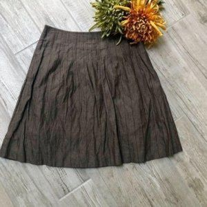 BGBCMaxAzria Brown Striped  Pleated Mini Skirt